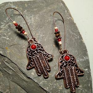 🐞2/$20 Chakra Palm Beaded Earrings - Rose Color